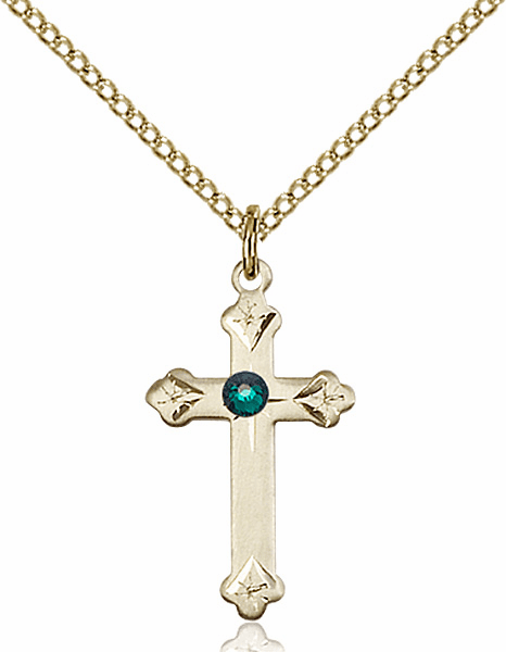 Girl's Swarovski Crystal May Emerald Birthstone Fancy Tip Cross 14kt Gold-filled by Bliss