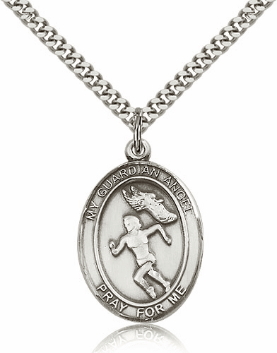 Guardian Angel Girl's Track & Field Sterling Silver Sports Necklace