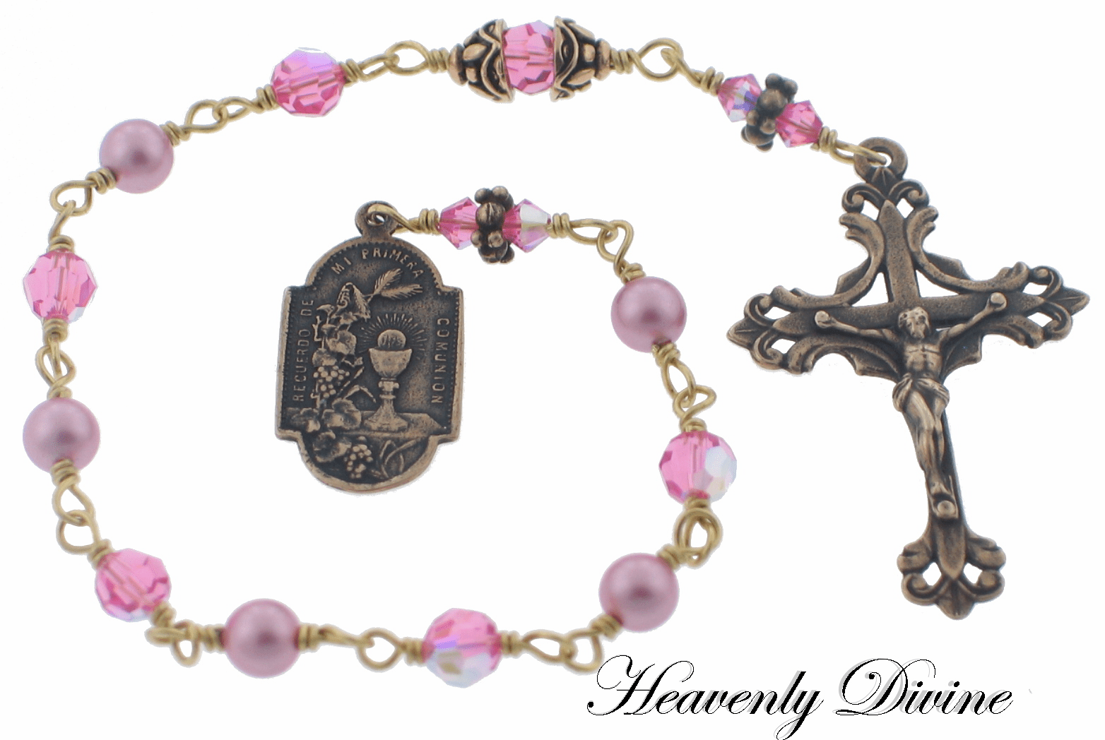 Girls First Holy Communion Bronze Pink Swarovski Crystal and Pearl Wire Wrapped Pocket Rosary