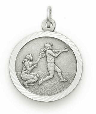 Girls Softball Medal with St Christopher Sterling Silver Necklace