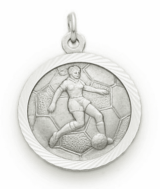 Girls St Christopher Soccer Player Sterling Silver Necklace