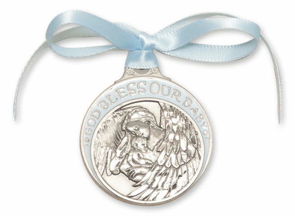 Bliss God Bless Our Baby Boy Pewter Angel Crib Medal w/Blue Ribbon