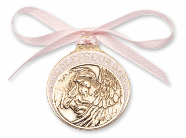 Bliss God Bless Our Baby Girl Gold Angel Crib Medal w/Pink Ribbon