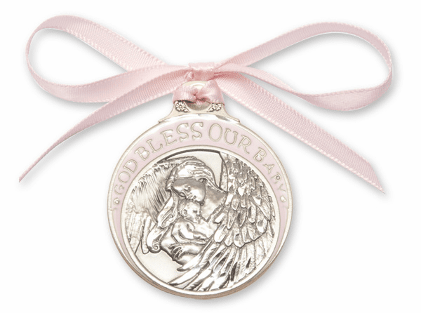 Bliss God Bless Our Baby Girl Silver Angel Crib Medal w/Pink Ribbon