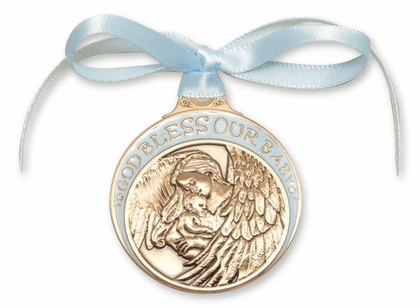 Bliss God Bless Our Baby Gold Oxide Angel Crib Medal w/Blue Ribbon
