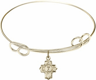 Gold Communion Loop Bangle w/Gold-Filled 5-Way Cross Charm Bracelet by Bliss