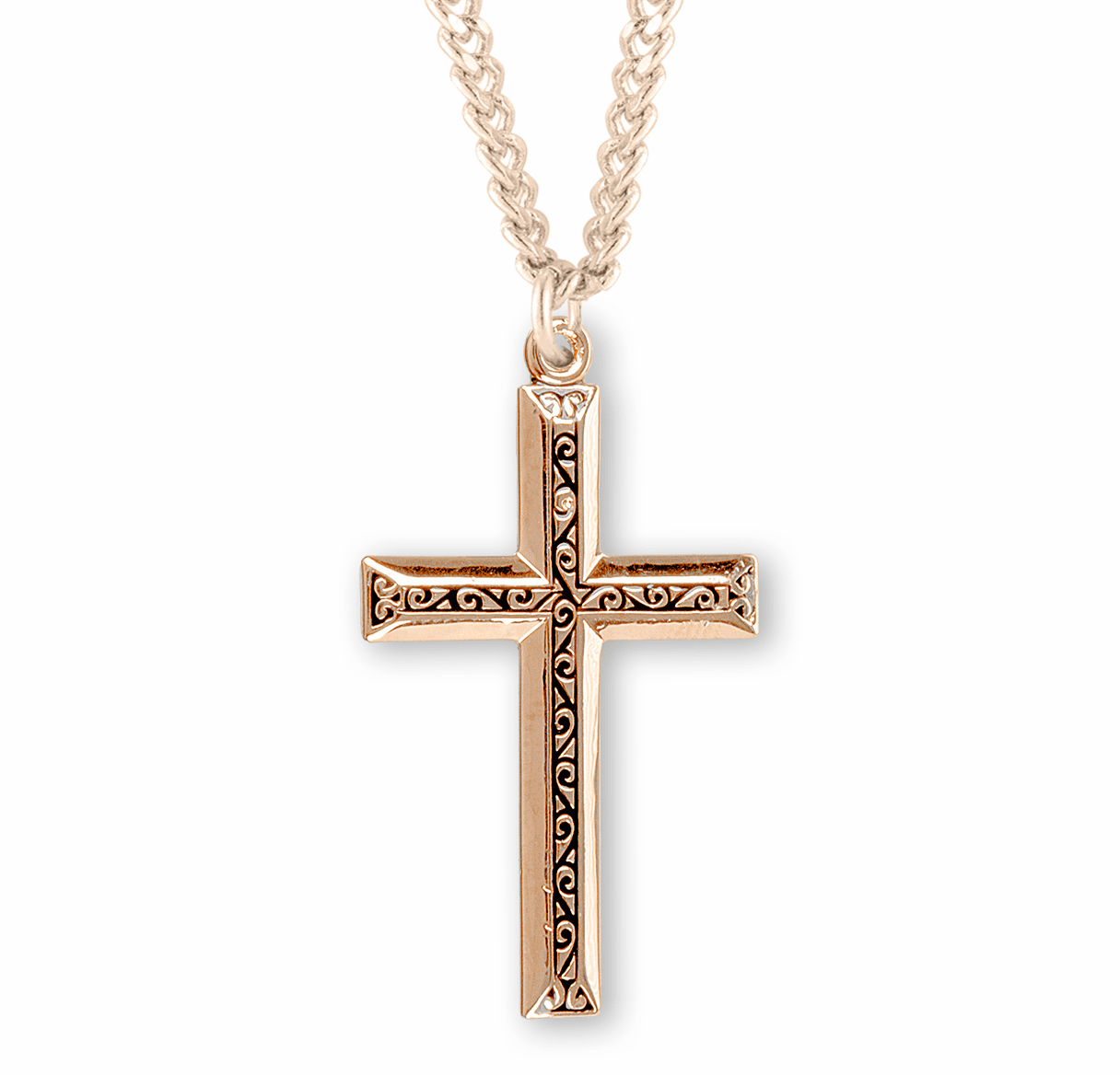 Gold Cross w/Raised Center Design Necklace by HMH Religious