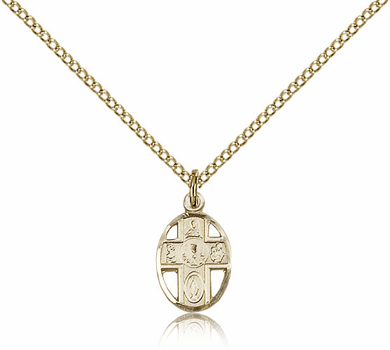Gold Filled 5-Way Cross Communion Chalice Pendant Necklace