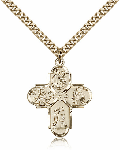Bliss Mfg Franciscan 14kt Gold Filled 4-Way Cross Pendant Necklace