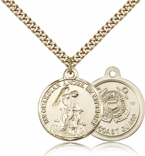 Gold Filled Guardian Angel US Coast Guard Pendant by Bliss