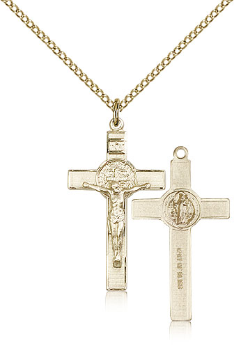 Gold Filled Crucifix Pendant 1 1//8 x 5//8 inches with Heavy Curb Chain