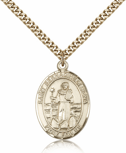Gold Filled St Bernadine Of Sienna Patron Saint Medal
