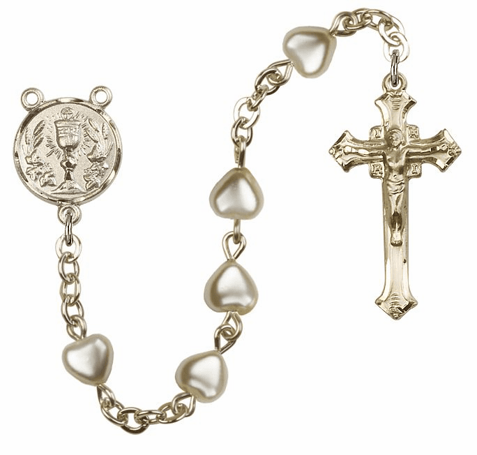 Gold Heart Pearl Chalice Holy Communion Rosary by Bliss