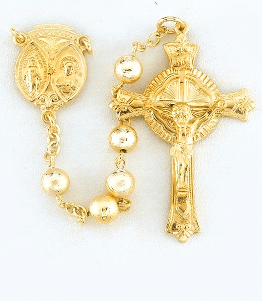 Gold Lacquered Glass Bead Sterling Silver Prayer Catholic Rosary by HMH Religious