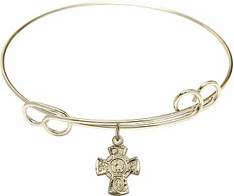 Gold Loop Bangle w/Gold-Filled 5-Way Cross Holy Spirit Charm Bracelet by Bliss