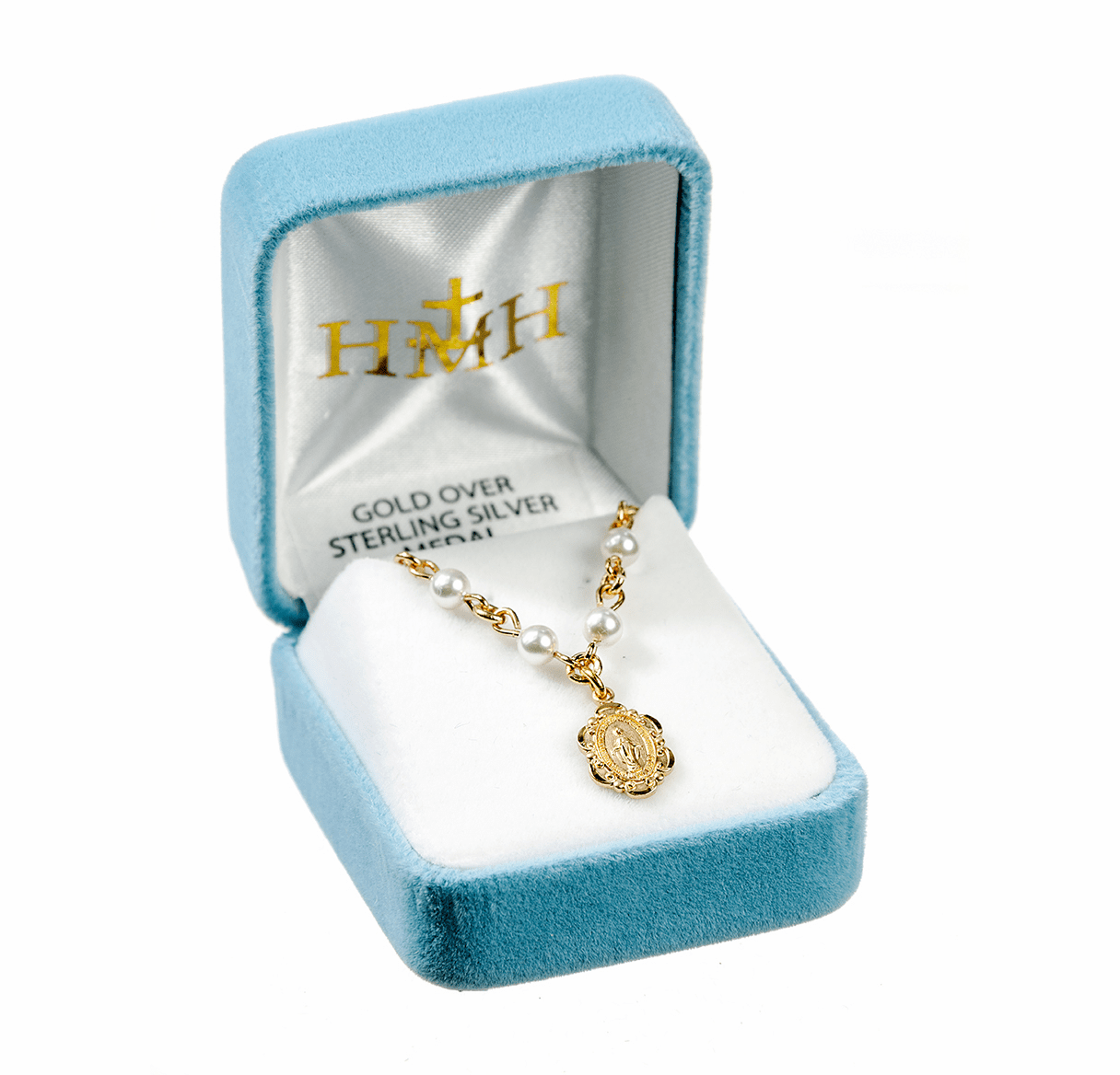 Gold Miraculous Medal and Swarovski Crystal Pearls Necklace