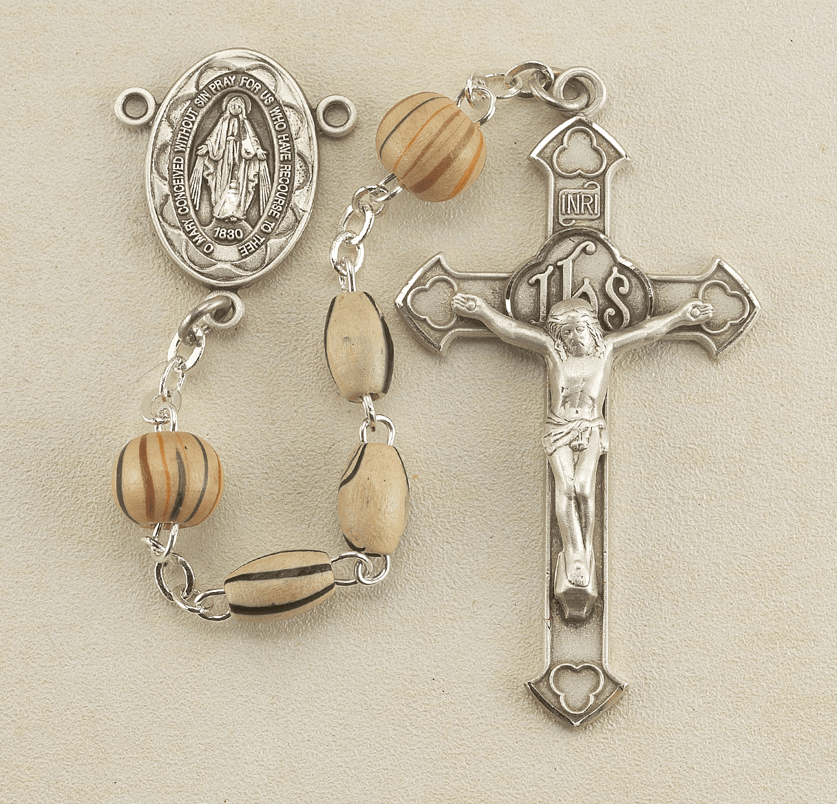 Gold Oval Stripe Painted Italian Wood Bead Rosary by HMH Religious