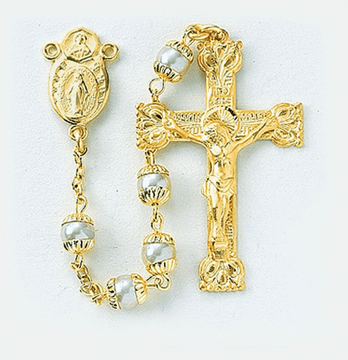 Gold Pearl Double Capped Rosary with Scapular Center by HMH Religious
