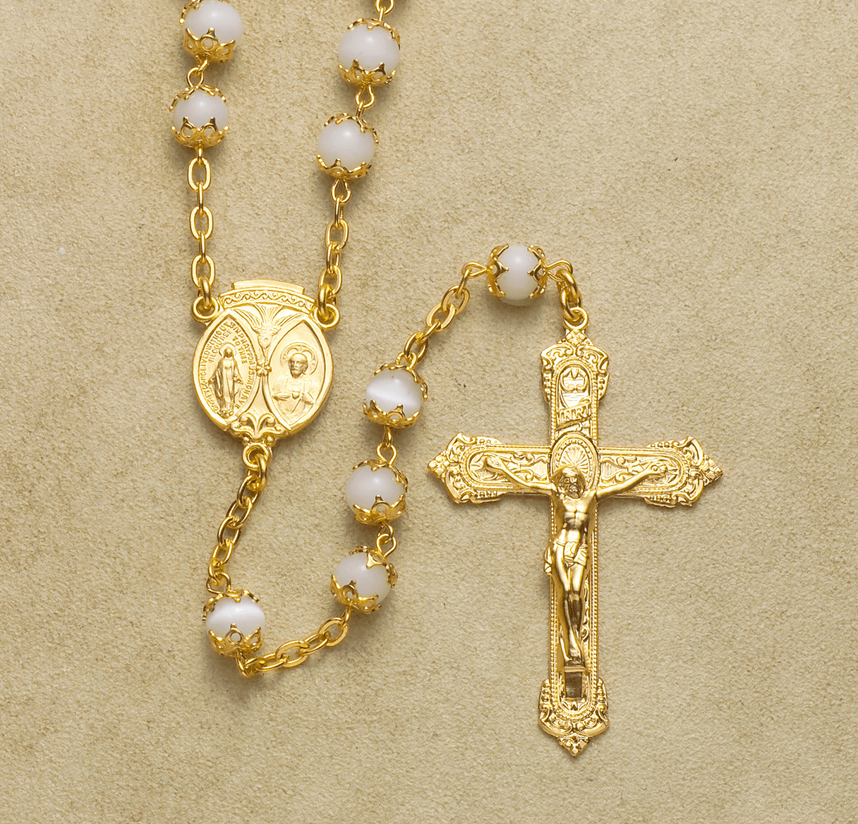 Gold Scapular Double Capped Pearl Rosary by HMH Religious