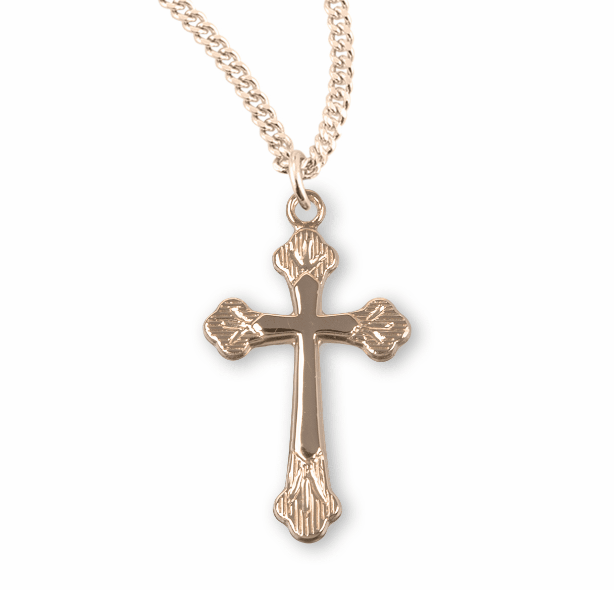 Gold Small Cross w/Fancy Tips Necklace by HMH Religious