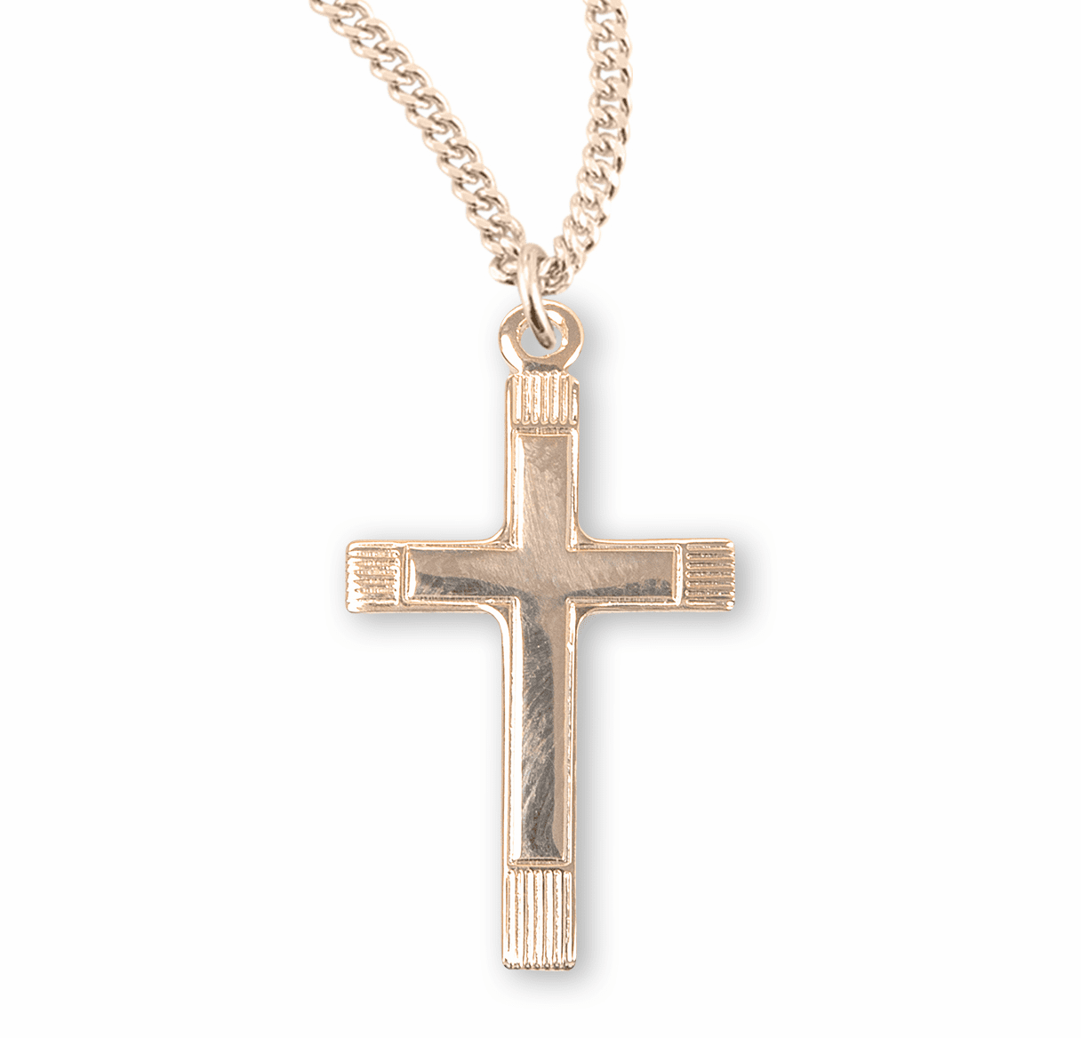 Gold Small Fancy Cross Necklace by HMH Religious