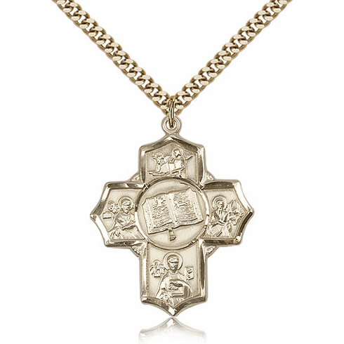 Apostles Books of the Gospel Five-Way Cross 14kt Gold-Filled Pendant Necklace by Bliss