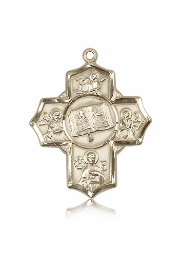 Apostles Books of the Gospel Five-Way Cross 14kt Gold Pendant Necklace by Bliss