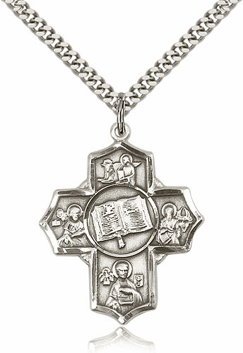 Apostles Books of the Gospel Five-Way Cross Sterling Silver Necklace by Bliss Mfg