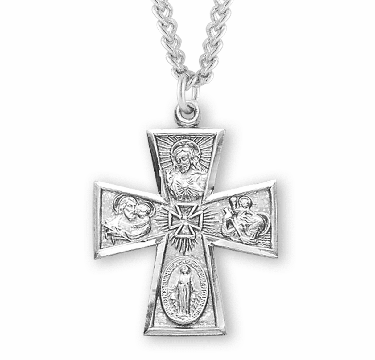 Gothic 4-Way Cross Medal Necklace w/Cross Center by HMH Religious