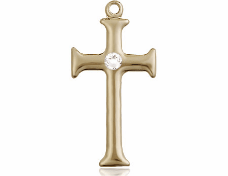 Gothic Cross 14kt Gold April Crystal Birthstone Pendant Necklace by Bliss