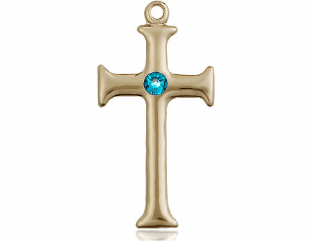Gothic Cross 14kt Gold December Zircon Birthstone Pendant Necklace by Bliss