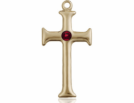 Gothic Cross 14kt Gold January Garnet Birthstone Pendant Necklace by Bliss