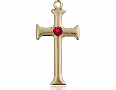 Gothic Cross 14kt Gold July Ruby Birthstone Pendant Necklace by Bliss