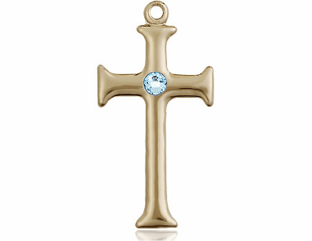 Gothic Cross 14kt Gold March Aqua Birthstone Pendant Necklace by Bliss