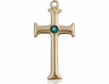 Gothic Cross 14kt Gold May Emerald Birthstone Pendant Necklace by Bliss