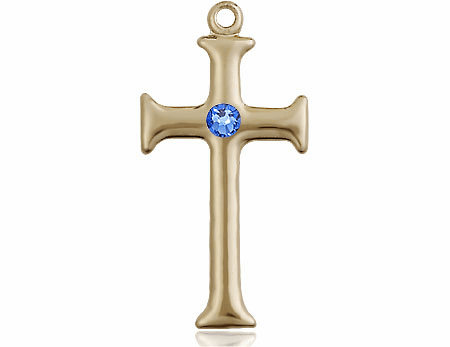 Gothic Cross 14kt Gold September Sapphire Birthstone Pendant Necklace by Bliss