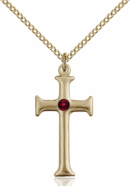 Gothic Cross Gold-filled January Garnet Birthstone Pendant Necklace by Bliss