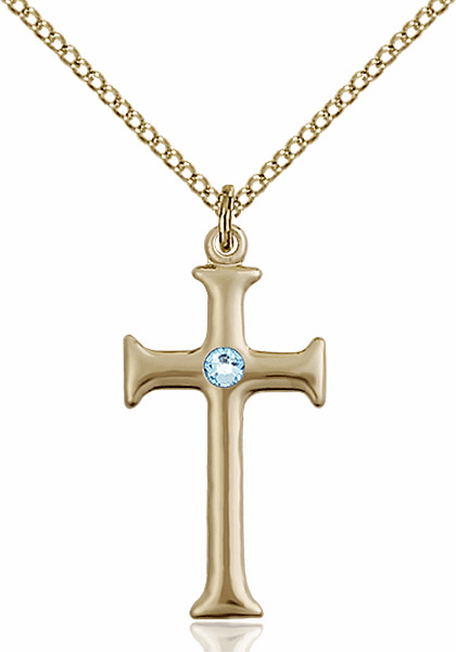 Gothic Cross Gold-filled March Aqua Birthstone Pendant Necklace by Bliss