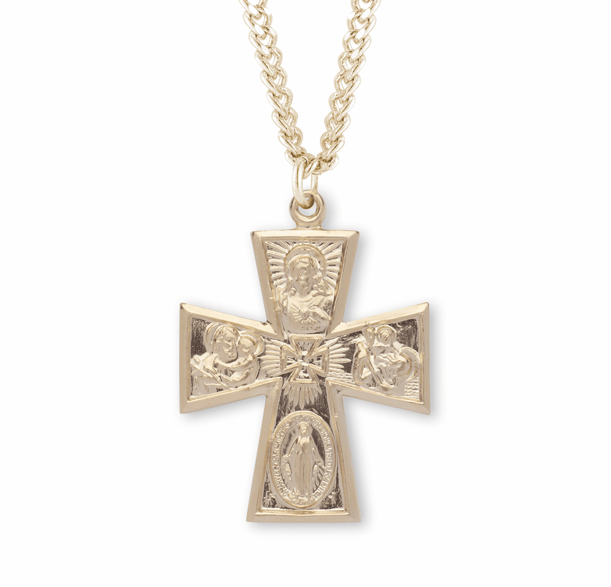 HMH Religious Gold/Sterling Gothic 4-Way Cross Necklace w/Cross Center