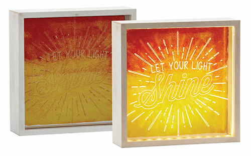 "Graduation Christian Let Your Light Shine 8"" Square Light Wood Box"