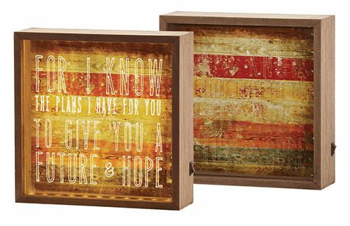 Graduation Christian Verse Jeremiah 29:11 8 inch Square Light Wood Box