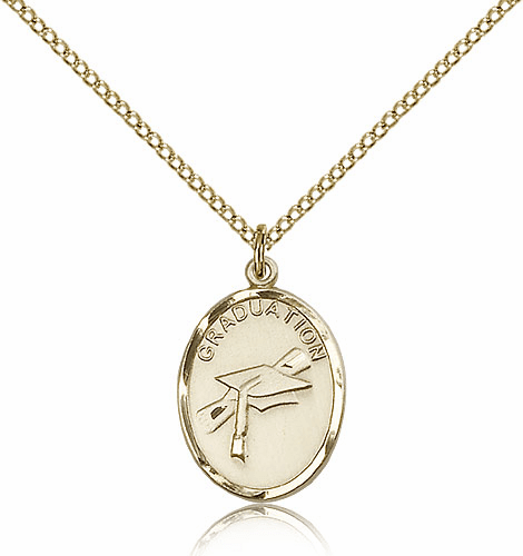 Graduation Hat And Diploma Oval 14kt Gold-filled Pendant w/Chain by Bliss