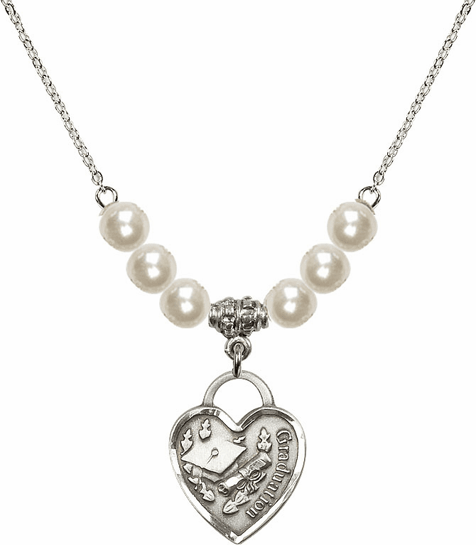 Graduation Heart 4mm Faux Pearlsl Necklace by Bliss Mfg