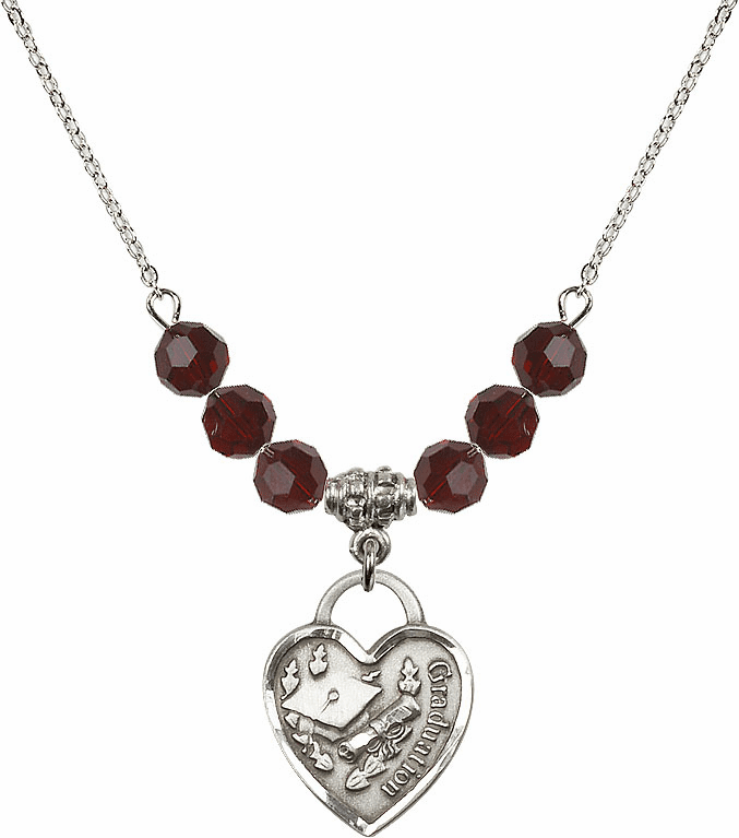 Graduation Heart 4mm January Garnet Swarovski Crystal Necklace by Bliss Mfg