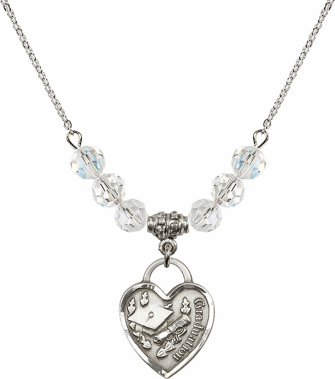 Graduation Heart April 4mm Swarovski Crystal Necklace by Bliss Mfg