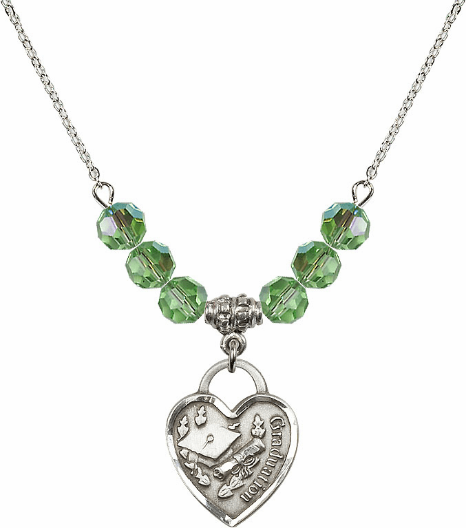 Graduation Heart August Peridot 4mm Swarovski Crystal Necklace by Bliss Mfg