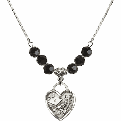 Graduation Heart Black Jet 4mm Swarovski Crystal Necklace by Bliss Mfg