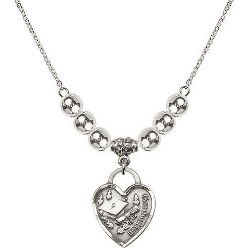 Graduation Heart Charm w/4mm Silver Beaded Necklace by Bliss Mfg