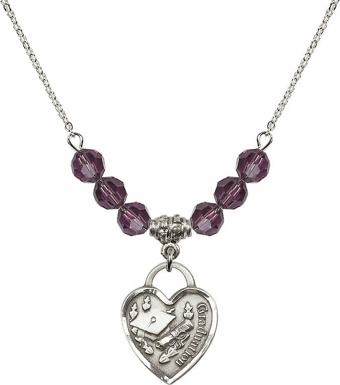 Graduation Heart February Amethyst 4mm Swarovski Crystal Necklace by Bliss Mfg
