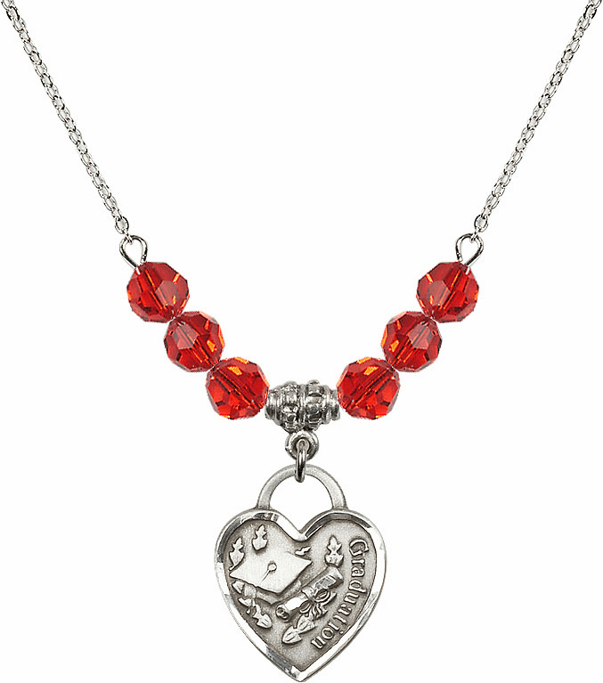 Graduation Heart July Ruby 4mm Swarovski Crystal Necklace by Bliss Mfg